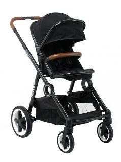 Коляска прогулочная BabyZz Dynasty 2в1 с накидкой на ножки и дождевиком, черная