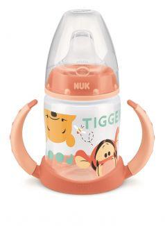 Обучающая бутылочка NUK First Choice с силиконовой насадкой и ручками, оранжевая, 150мл