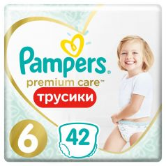 Подгузники-трусики Pampers Premium Care Pants Extra Large 6 (15+ кг), 42шт.