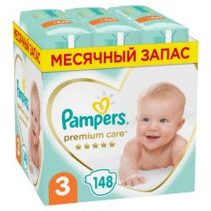 Подгузники Pampers Premium Care Midi 3 (6-10кг), 148шт.