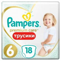Подгузники-трусики Pampers Premium Care Pants Extra Large 6 (15+ кг), 18шт.