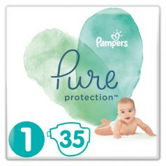 Подгузники Pampers Pure Protection Newborn (2-5кг), 35шт.