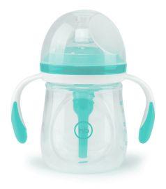 Бутылочка антиколиковая Happy Baby Aqua с ручками и силиконовой соской, 180мл
