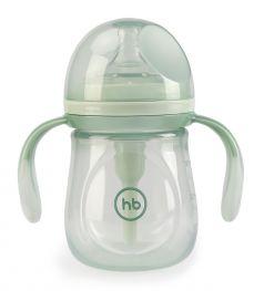 Бутылочка антиколиковая Happy Baby Olive с ручками и силиконовой соской, 180мл