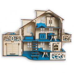 """Сборный кукольный домик Эlen Toys """"Морской бриз"""" с гаражом и мебелью"""