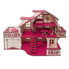 """Сборный кукольный домик Эlen Toys """"Фуксия"""" с гаражом и мебелью"""