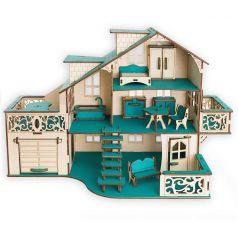 """Сборный кукольный домик Эlen Toys """"Лазурный берег"""" с гаражом и мебелью"""
