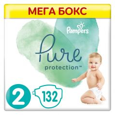 Подгузники Pampers Pure Protection Mini 2 (4-8кг), 132шт.