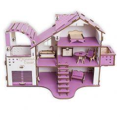 """Сборный кукольный домик Эlen Toys """"Сиреневая весна 2"""" с гаражом и мебелью"""