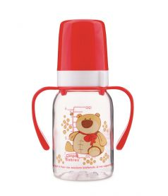 Бутылочка Canpol babies Cheerful animals с силиконовой соской, с ручками, 120мл, красная