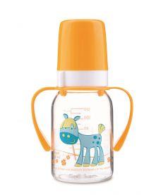 Бутылочка Canpol babies Cheerful animals с силиконовой соской, с ручками, 120мл, желтая