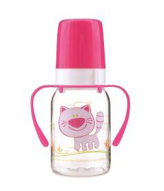 Бутылочка Canpol babies Cheerful animals с силиконовой соской, с ручками, 120мл, розовая