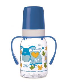Бутылочка Canpol babies Cheerful animals с силиконовой соской, с ручками, 120мл, синяя