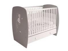 Кровать детская Polini kids French 710 Amis с ящиком, бело-серая