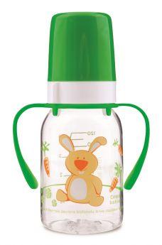 Бутылочка Canpol babies Cheerful animals с силиконовой соской, с ручками, 120мл, зеленая
