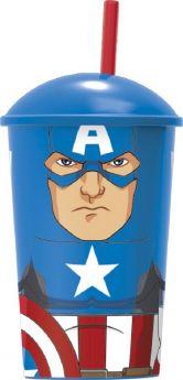 """Стакан с соломинкой и крышкой Stor """"Капитан Америка"""", 400мл"""