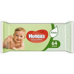 Детские влажные салфетки Huggies Ultra Comfort с алоэ, 64шт.