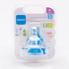 Соски силиконовые МАМ Teat 3 быстрый поток для бутылочек с широким горлышком, 2шт.