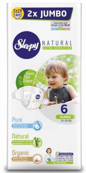 Подгузники Sleepy Natural XL 6, 15-25кг, 40шт.
