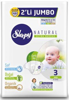 Подгузники Sleepy Natural Midi 3, 4-9кг, 68шт.