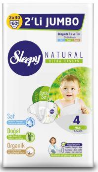 Подгузники Sleepy Natural Maxi 4, 7-14кг, 60шт.
