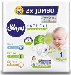Подгузники Sleepy Natural Newborn 1, 2-5кг, 80шт.