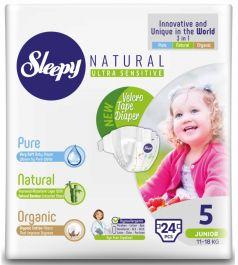 Подгузники Sleepy Natural Junior 5, 11-18кг, 24шт.