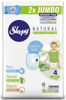 Подгузники-трусики Sleepy Natural Maxi 4, 7-14кг, 60шт.