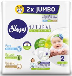 Подгузники Sleepy Natural Mini 2, 3-6кг, 84шт.