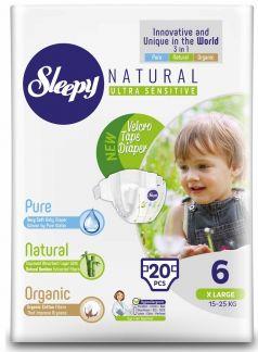 Подгузники Sleepy Natural XL 6, 15-25кг, 20шт.