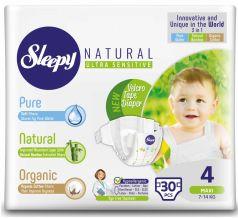 Подгузники Sleepy Natural Maxi 4, 7-14кг, 30шт.