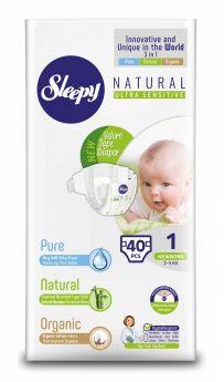 Подгузники Sleepy Natural Newborn, 2-5кг, 40шт.