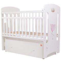 """Кроватка Топотушки Каролина """"Фламинго"""", с маятником, белая с принтом"""