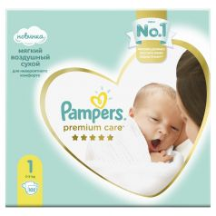 Подгузники Pampers Premium Care Newborn (2-5 кг), 102шт.