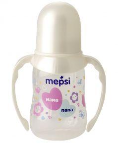 Бутылочка для кормления Mepsi с силиконовой соской и ручками, 125мл