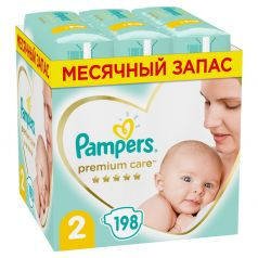 Подгузники Pampers Premium Care Mini 2 (4-8кг), 198шт.