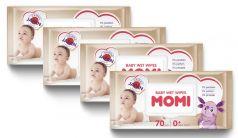 Детские влажные салфетки Momi, 4х70шт.