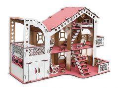 """Сборный кукольный домик Эlen Toys """"Пудра"""" с гаражом и мебелью"""