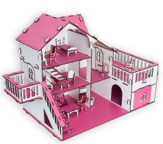 Сборный кукольный домик Эlen Toys с террасой и мебелью, розовый