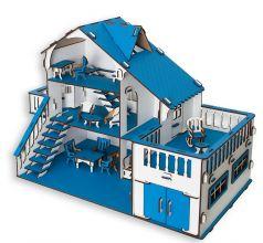 Сборный кукольный домик Эlen Toys с террасой и мебелью, синий
