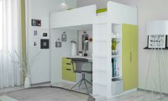 Кровать-чердак Polini kids Simple с письменным столом и шкафом, бело-зеленая