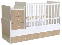 Кроватка детская Polini kids Simple 1111, с комодом, белый ваниль
