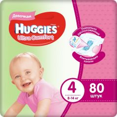 Подгузники Huggies Ultra Comfort 4 для девочек 8-14 кг, 80шт.
