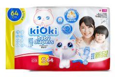 Детские подгузники KIOKI S (3-6кг) на липучках, 64шт.