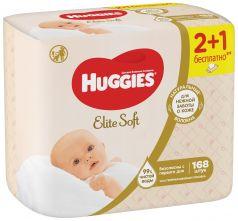 Детские салфетки влажные Huggies Elite Soft, без отдушки, 168шт.