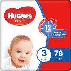 Подгузники Huggies Classic Mega Pack 3, 4-9кг, 78шт.