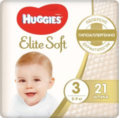 Подгузники Huggies Elite Soft 3, 5-9кг, 21шт.
