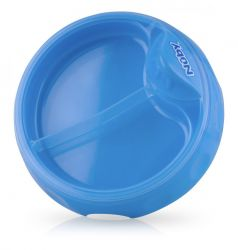 Тарелочка Nuby двухсекционная с ложкой с длинной ручкой, синяя