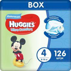 Подгузники Huggies Ultra Comfort 4 для мальчиков 8-14кг, 126шт.