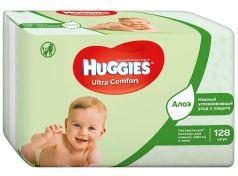 Детские влажные салфетки Huggies Ultra Comfort Natural Duo с алоэ, 2x64шт.